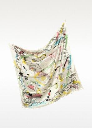 Moschino Cheap & Chic Moschino Cheap and Chic - Make-Up Print Silk Square Scarf