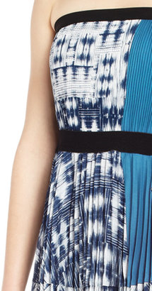 BCBGMAXAZRIA Georgette Strapless Pleated Cocktail Dress