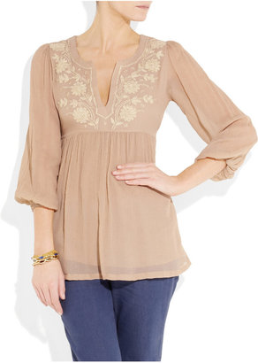 Leaves of Grass Millay embroidered silk-crepe top