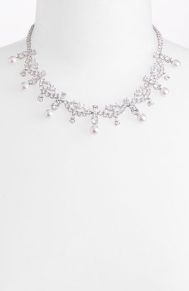 Nadri Simulated Pearl & Cubic Zirconia Necklace