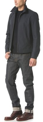 Vince Military Crew Neck Sweater with Leather