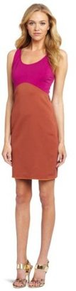 Halston Women's Sleeveless Color Blocked Ponte Dress