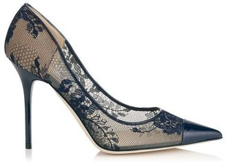 Jimmy Choo Amika Navy Lace and Patent Pointy Toe Pumps