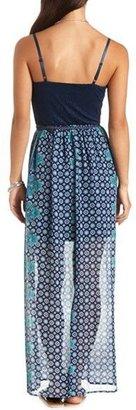 Charlotte Russe Crochet & Paisley Print Bustier Maxi Dress