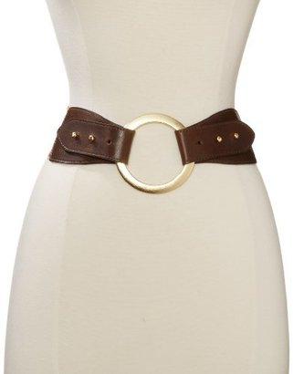 Streets Ahead Women's Burlington Leather Wide Brass Ring Belt
