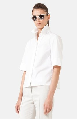 Akris Punto Cotton Plissé Blouse