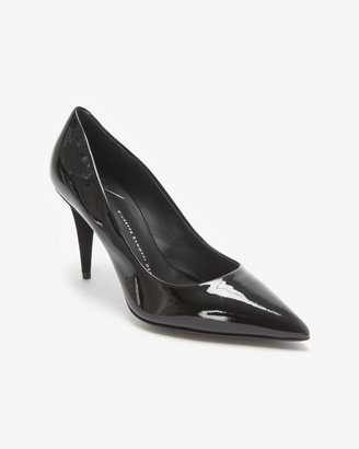 Giuseppe Zanotti Suede Low Cone Heel Patent Leather Pump