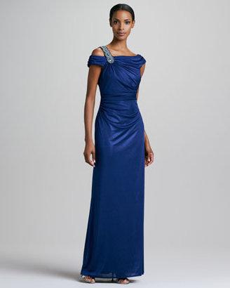 David Meister Beaded Off-the-Shoulder Gown