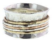 David Tishbi Wide Sterling Band - 5 Mixed Spinner Rings