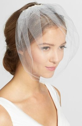 J-Picone Faux Pearl Comb Tulle Blusher/birdcage Veil