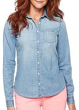 JCPenney jcpTM Long-Sleeve Denim Shirt