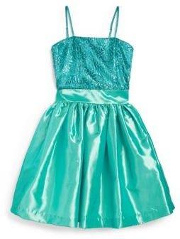 Un Deux Trois Girl's Sequin Taffeta Party Dress
