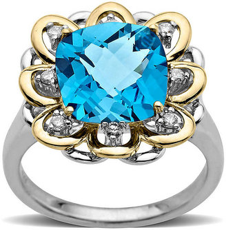 Lord & Taylor Blue Topaz and Diamond-Accented Ring in Sterling Silver with 14 Kt. Yellow Gold