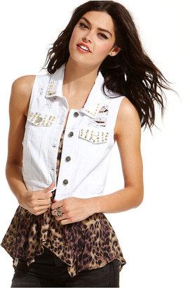 Material Girl Juniors Jacket, Destroyed Studded Denim Vest
