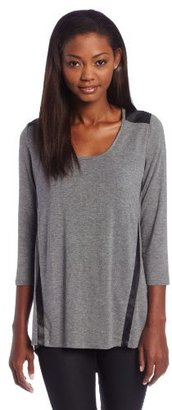 C&C California Women's 3/4 Sleeve Scoop Neck Tee with Faux Leather Detail