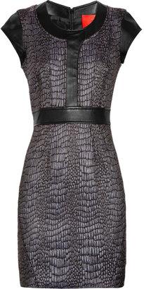 Zac Posen Z Spoke by Leather-trimmed croc-effect brocade dress