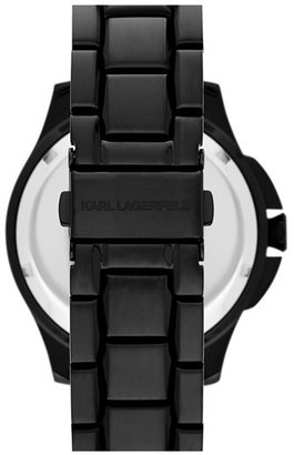 Karl Lagerfeld '7' Faceted Bezel Bracelet Watch, 44mm