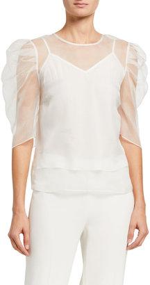 Cinq à Sept Erin Silk Organza Ruched-Sleeve Top