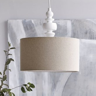 west elm Turning Pendant - White/Natural