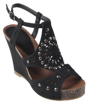 Hailey Jeans Co Womens Open Toe Studded T-strap Wedge