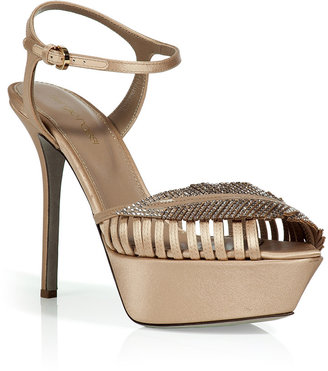 Sergio Rossi Nude Silk and Satin Sandals with Crystal Detailing