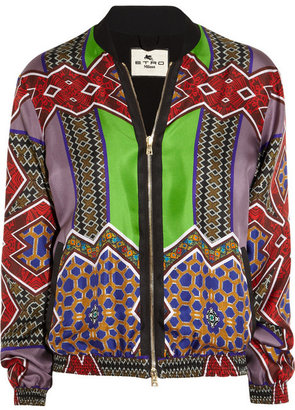 Etro Printed silk-satin twill bomber jacket