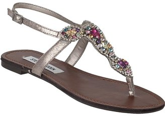 Steve Madden SHOES Glaare Thong Sandal Silver/Multi Leather