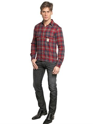 DSquared Wool Flannel & Cotton Jersey Shirt
