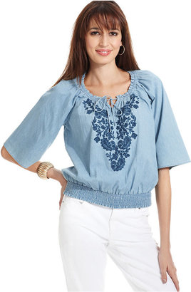 Style&Co. Petite Top, Three-Quarter-Sleeve Embroidered Chambray Peasant