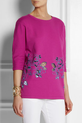Carven Embroidered cutout cotton-blend sweatshirt