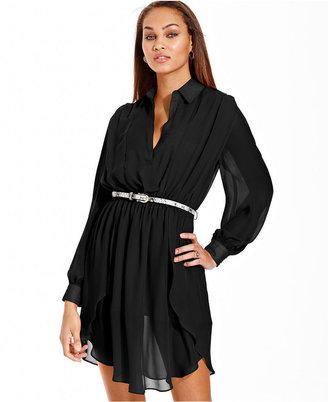 XOXO Dress, Long Sleeve Belted Paneled