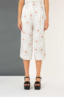 Topshop Floral Satin Wide Leg Trousers By Boutique