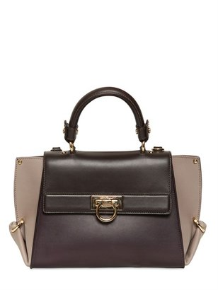 Salvatore Ferragamo Sofia Bicolored Matt Leather Top Handle