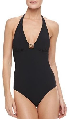 Tory Burch Logo Halter One-Piece Swimsuit