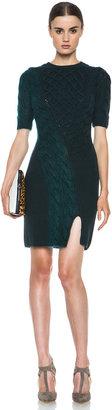 Carven Twisted Knit Merino Wool Sweater Dress in Green
