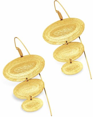 Stefano Patriarchi Golden Silver Etched Oval Triple Drop Earrings