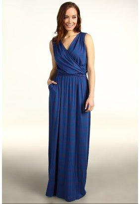 Michael Stars Giselle Tribeca Stripe Maxi Dress (Cobalt/Fire) - Apparel