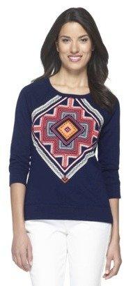 Merona Women's Embroidered Front Sweatshirt - Navy