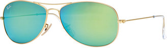 Ray-Ban Aviator Sunglasses with Green Mirror Lens, Golden