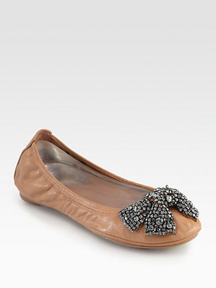 Tory Burch Eddie Leather & Crystal Bow Ballet Flats