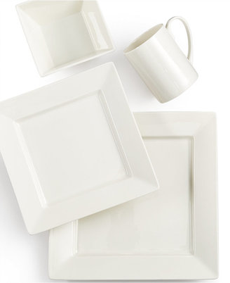 Martha Stewart Collection Martha Stewart Collection Avenue Square Whiteware 4-Piece Place Setting