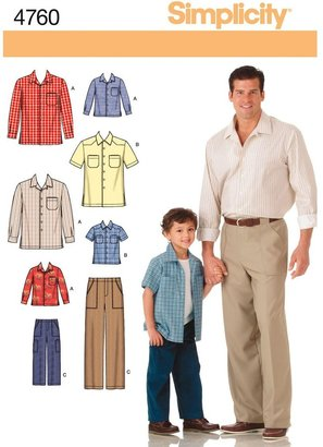 Simplicity Men's/Boys' Shirt & Pants Sewing Pattern, 4760, A