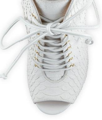 Giuseppe Zanotti Lace-Up Python-Print Leather Bootie, White