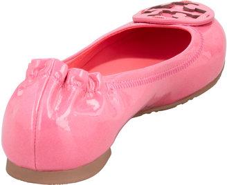 Tory Burch Reva Polished Patent Ballerina Flat, Bougainvillea Pink