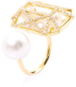 Melanie Georgacopoulos Diamond, white pearl & yellow gold ring