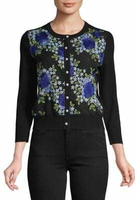 Karl Lagerfeld Paris Embroidered Floral Cardigan