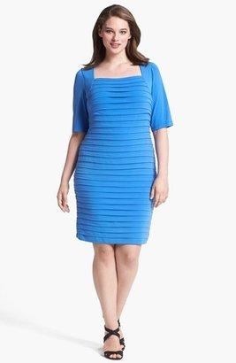 London Times Shutter Pleat Jersey Sheath Dress (Plus Size)