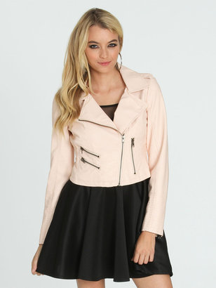 Arden B Quilted Sleeve Moto Jacket