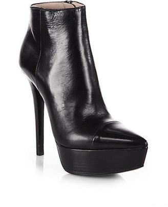Prada Leather Platform Ankle Boots
