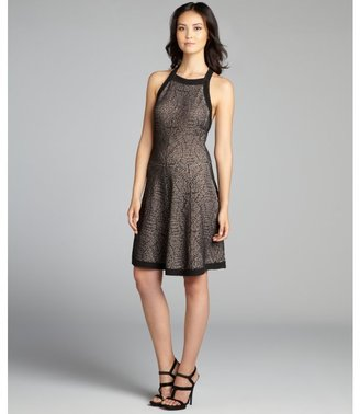 Nicole Miller black and khaki textured knit crossback dress
